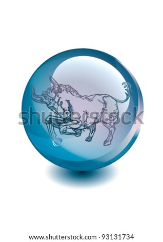 Taurus - Ornamental drawing the horoscope zodiac sign in the magic glass ball. Simply to use separately ornament and ball. Saved for 10 EPS