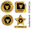 Taurus Zodiac Set : Gold satin buttons with name and date. - stock vector