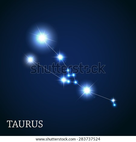 Taurus Zodiac Sign of the Beautiful Bright Stars Vector Illustration EPS10 - stock vector