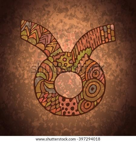 Taurus zodiac sign. Zodiac zentangle sign. Zodiac symbol. Zentangle doodle zodiac. Zentangle style vector. Zodiac symbol. Taurus horoscope. Taurus zodiac grunge banner. - stock vector