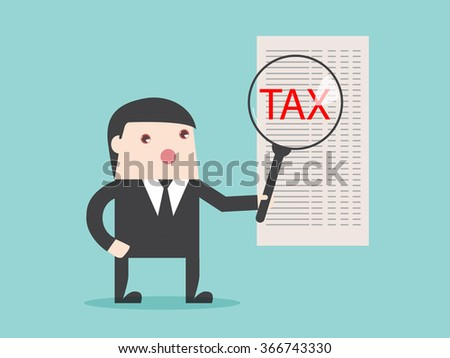 TAX analysis magnify financial focus. Flat design for business financial marketing banking advertisement office people property in minimal concept cartoon illustration. - stock vector