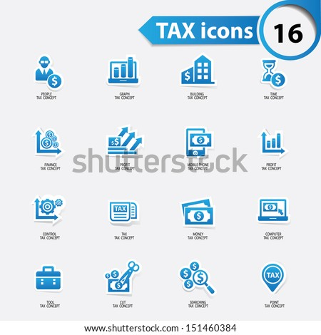 Tax and finance icons,blue version,vector - stock vector