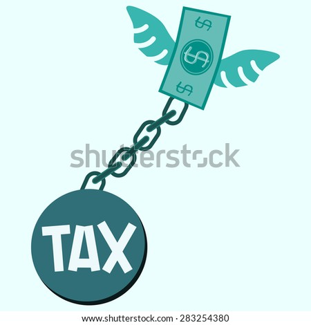 Tax bomb locked in a debt ball and chain. Businessman with debt burden. - stock vector