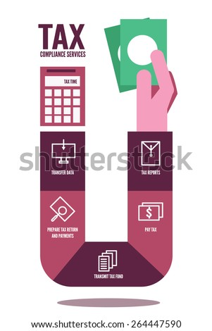 Tax compliance info graphic. flat design elements. vector illustration - stock vector