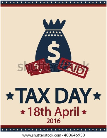 Tax day card. vector illustration. - stock vector