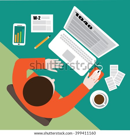 Tax day flat design. Filling out tax forms income tax preparation on the computer. EPS 10 vector. - stock vector