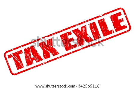 TAX EXILE red stamp text on white - stock vector