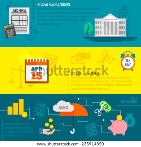 Tax flat banner set with internal revenue service time calculation isolated vector illustration. - stock vector