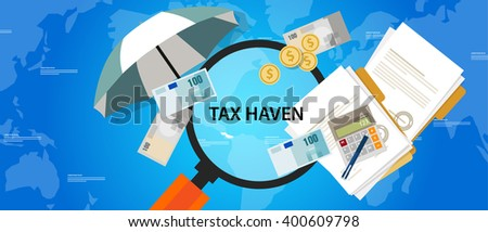 tax haven country finance business illustration money protection - stock vector