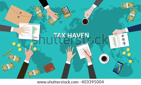 tax haven panama papers concept with money world map and document - stock vector