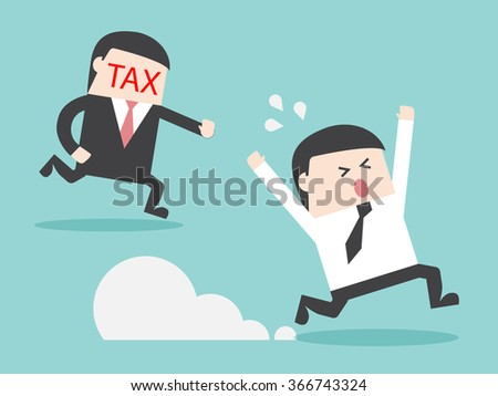 TAX hunting grab businessman. Flat design for business financial marketing banking advertisement office people property in minimal concept cartoon illustration. - stock vector