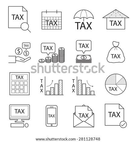 tax icon,line vector - stock vector
