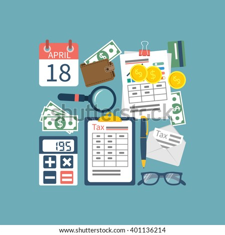 Tax icon vector. Tax payment government state. Data analysis, paperwork, financial research, report. Calculation of tax return. Flat design vector. Form. Payment of debt.  - stock vector