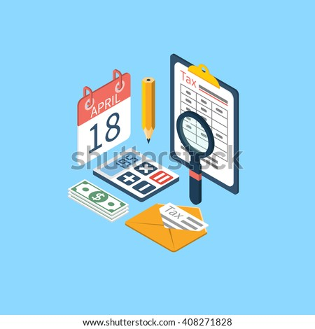 Tax icon vector. Tax payment. Isometric 3d design. Data analysis, paperwork, financial research, report. Calculation of tax return. Tax form. Tax form vector. Payment of debt. - stock vector