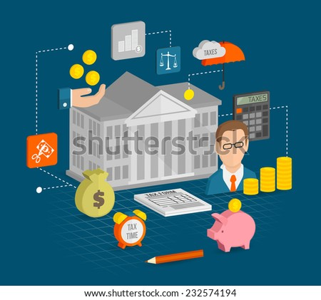 Tax icons isometric set with internal revenue service time calculation elements vector illustration - stock vector