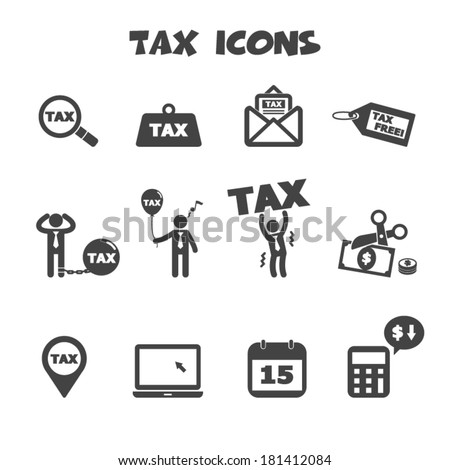 tax icons, mono vector symbols - stock vector