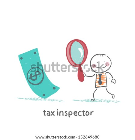 tax inspector with magnifying glass looking for money - stock vector