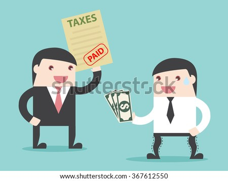 TAX paid, Businessman paid taxes. business financial account. Flat design for business financial marketing banking advertisement office people property in minimal concept cartoon illustration. - stock vector