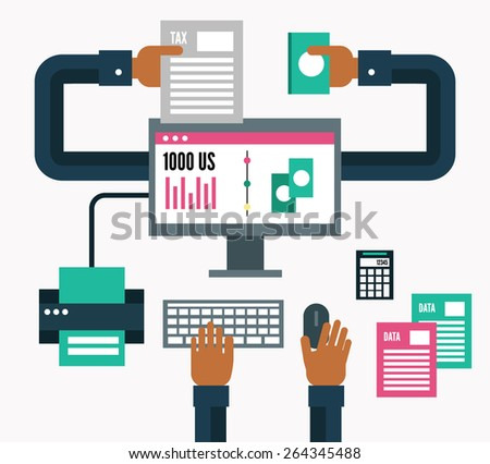 Tax payment online. flat design elements. vector illustration - stock vector