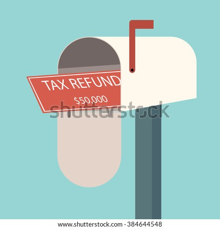 Tax refund cheque in mailbox. Refunded check. Money spending. Flat design for business financial marketing commercial banking web advertisement in minimal concept cartoon illustration. - stock vector