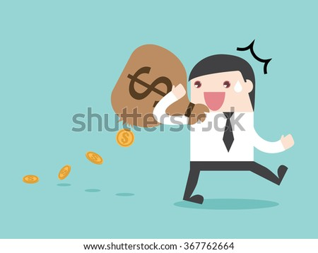TAX spending leak money leak. Flat design for business financial marketing banking advertisement office people property in minimal concept cartoon illustration. - stock vector