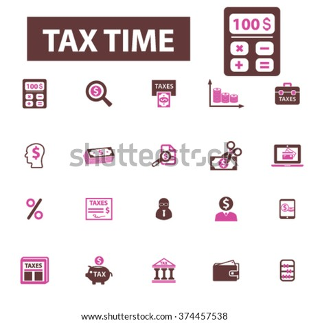tax time, accounting, finance  icons, signs vector concept set for infographics, mobile, website, application  - stock vector