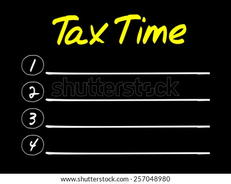 TAX TIME blank list, business concept - stock vector