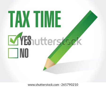 tax time check mark illustration design over white