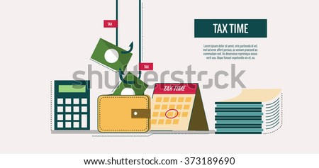Tax time concept. website banner, template, poster, icons. flat thin line design elements. vector illustration - stock vector