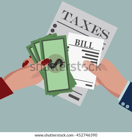 Taxes, bill paid,  and money. Flat design for business financial marketing banking advertisement office people property in minimal concept cartoon illustration. - stock vector