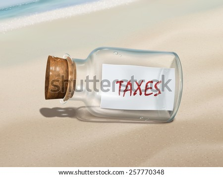 taxes message in a bottle isolated on beautiful beach - stock vector