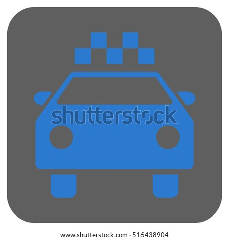Taxi Automobile vector icon. Image style is a flat icon symbol in a rounded square button, blue and gray colors.