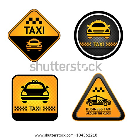Taxi cab set symbols, street orange signs - stock vector