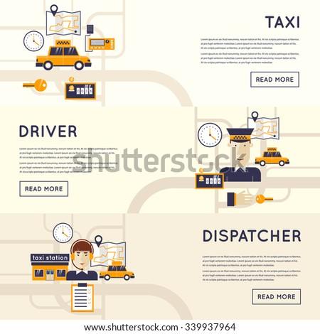 Taxi call. Dispatcher receives a call. Taxi service concept. Taxi driver. Flat design. - stock vector
