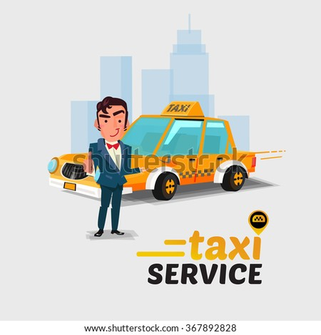 taxi car and driver in welcome action. taxi concept concept. character design - vector illustration - stock vector