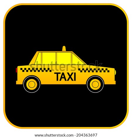 Taxi car button on white background. Vector illustration.