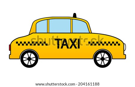 Taxi car icon on white background. Vector illustration. - stock vector