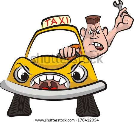 taxi driver - road rage - stock vector