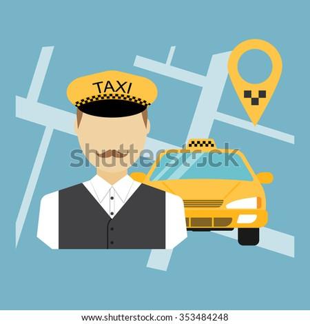 Taxi driver, taxi service, cab, taxi cab, cab driver, taxi cab driver. Flat design, vector illustration - stock vector