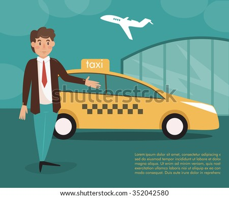 Taxi driver. Vector isolated illustration. Cartoon character.  Airport - stock vector