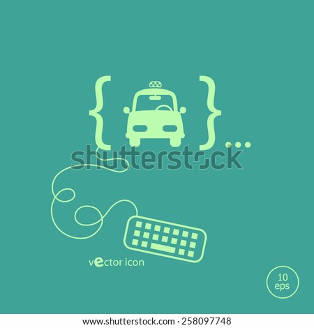 Taxi Icon and flat design elements. Design concept icons for application development, web page coding and programming,  web design, creative process, social media, seo. - stock vector