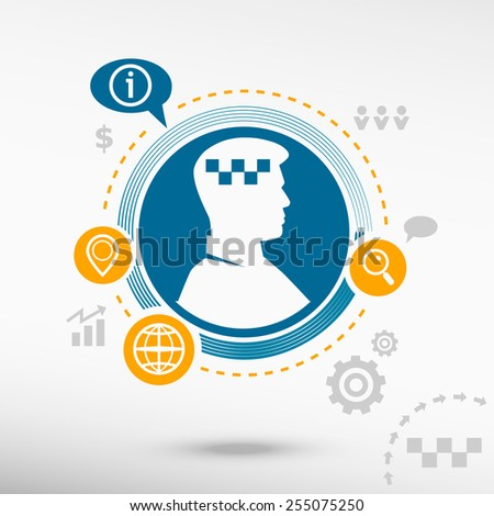 Taxi icon and male avatar profile picture. Flat design vector illustration concept for reaching goals. - stock vector