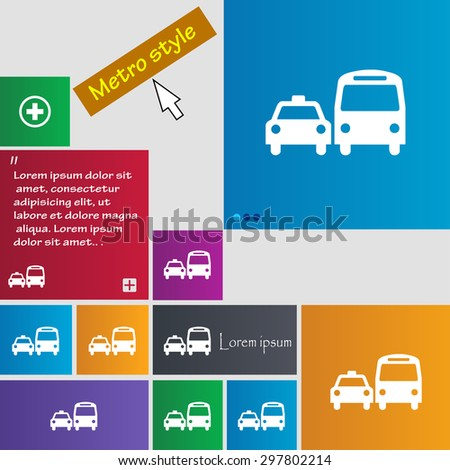 taxi icon sign. buttons. Modern interface website buttons with cursor pointer. Vector illustration - stock vector