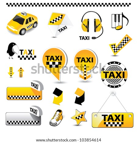 taxi icons - stock vector