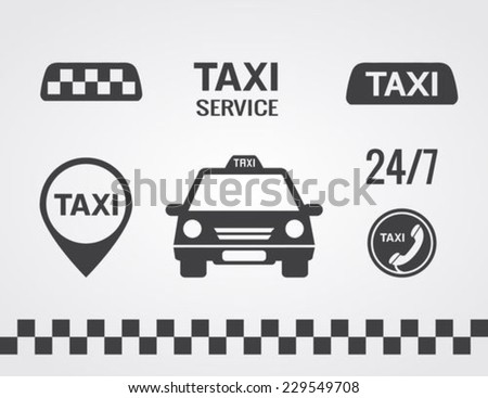 Taxi icons set, Flat style - stock vector