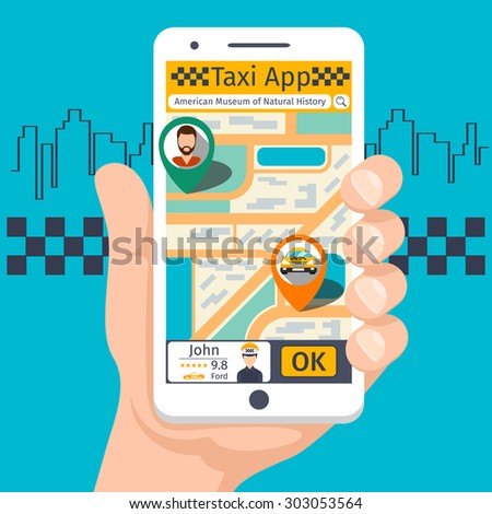 Taxi mobile app template set. Smartphone and touchscreen, map and pointer, gps navigation. Vector illustration - stock vector