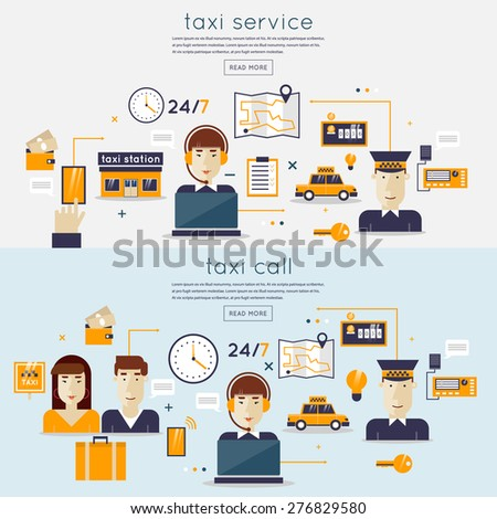 Taxi service concept with two passengers waiting a cab. Booking, payment. Taxi dispatcher, young woman talking on a headphone. Taxi driver. Taxi service concept. Flat design vector illustration. - stock vector