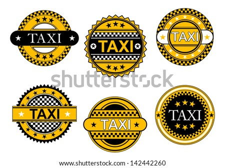 Taxi service emblems and signs set for transportation industry design, also as logo template. Jpeg version also available in gallery  - stock vector