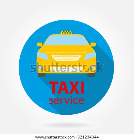 Taxi service flat icon isolated on white background. Taxi car or vehicle. Colorful vector illustration.  - stock vector