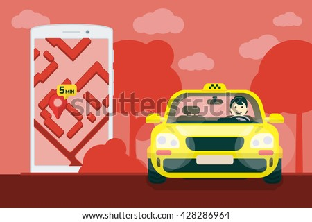 Taxi service. Flat yellow taxi with a driver traveling on the road. car front view. Flat mobile phone with a label on the map. Application for taxi online. Vector clipart graphics - stock vector